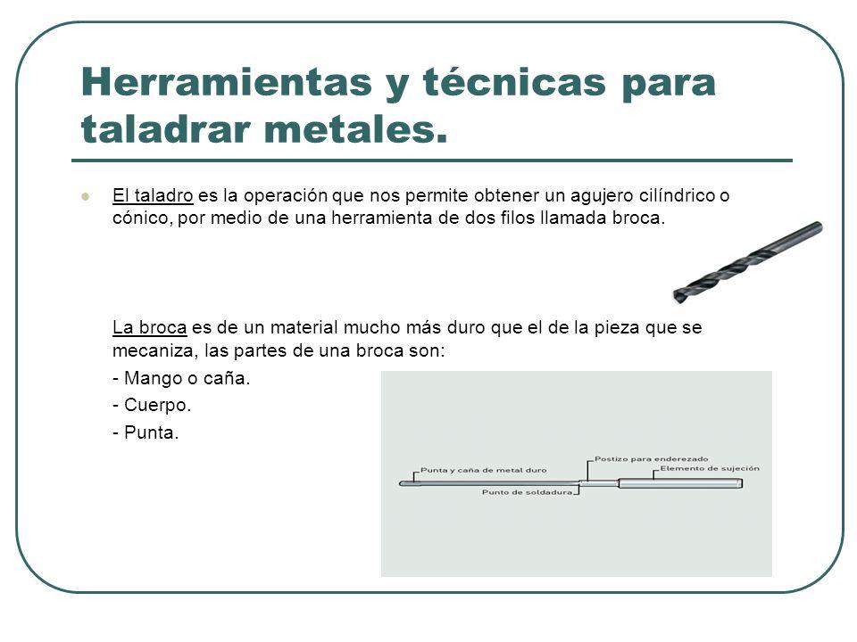 Herramientas y técnicas para taladrar metales. El taladro es la operación que nos permite obtener un agujero cilíndrico o cónico, por medio de una her