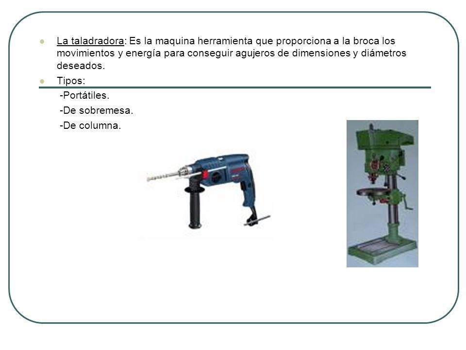 La taladradora: Es la maquina herramienta que proporciona a la broca los movimientos y energía para conseguir agujeros de dimensiones y diámetros dese