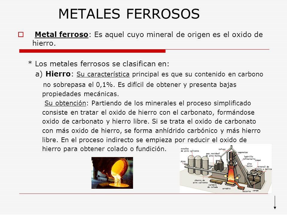 METALES FERROSOS Metal ferroso: Es aquel cuyo mineral de origen es el oxido de hierro. * Los metales ferrosos se clasifican en: a) Hierro: Su caracter