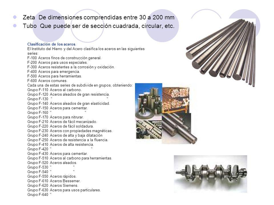 Zeta De dimensiones comprendidas entre 30 a 200 mm Tubo Que puede ser de sección cuadrada, circular, etc. Clasificación de los aceros. El Instituto de