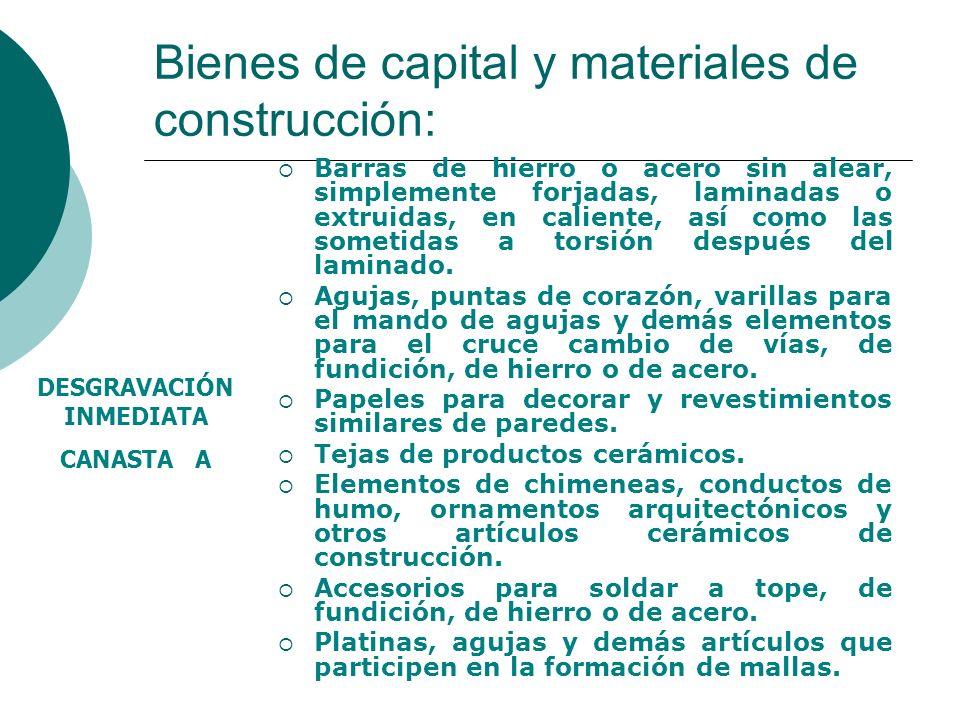 Bienes de capital y materiales de construcción: Barras de hierro o acero sin alear, simplemente forjadas, laminadas o extruidas, en caliente, así como