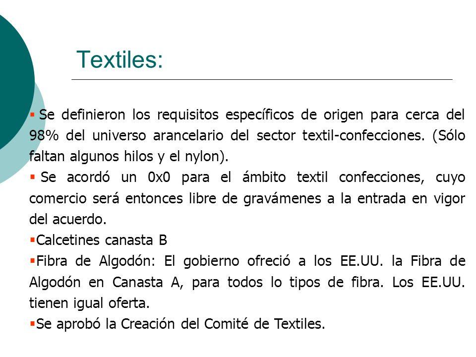 Se definieron los requisitos específicos de origen para cerca del 98% del universo arancelario del sector textil-confecciones. (Sólo faltan algunos hi