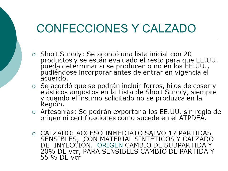 CONFECCIONES Y CALZADO Short Supply: Se acordó una lista inicial con 20 productos y se están evaluado el resto para que EE.UU. pueda determinar si se