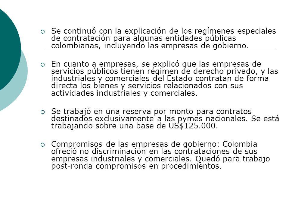 Se continuó con la explicación de los regímenes especiales de contratación para algunas entidades públicas colombianas, incluyendo las empresas de gob