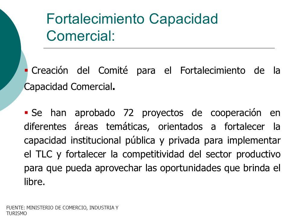 Creación del Comité para el Fortalecimiento de la Capacidad Comercial. Se han aprobado 72 proyectos de cooperación en diferentes áreas temáticas, orie