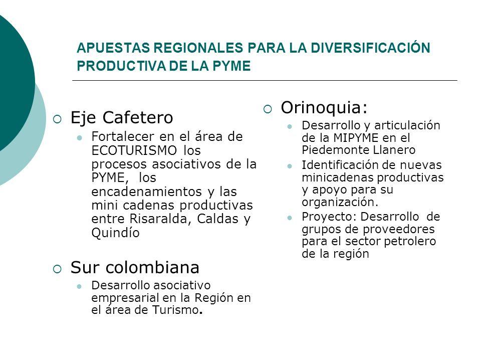 APUESTAS REGIONALES PARA LA DIVERSIFICACIÓN PRODUCTIVA DE LA PYME Eje Cafetero Fortalecer en el área de ECOTURISMO los procesos asociativos de la PYME