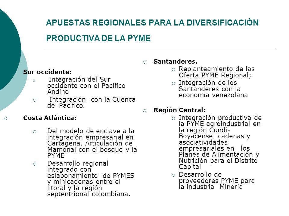 APUESTAS REGIONALES PARA LA DIVERSIFICACIÓN PRODUCTIVA DE LA PYME Sur occidente: Integración del Sur occidente con el Pacífico Andino Integración con