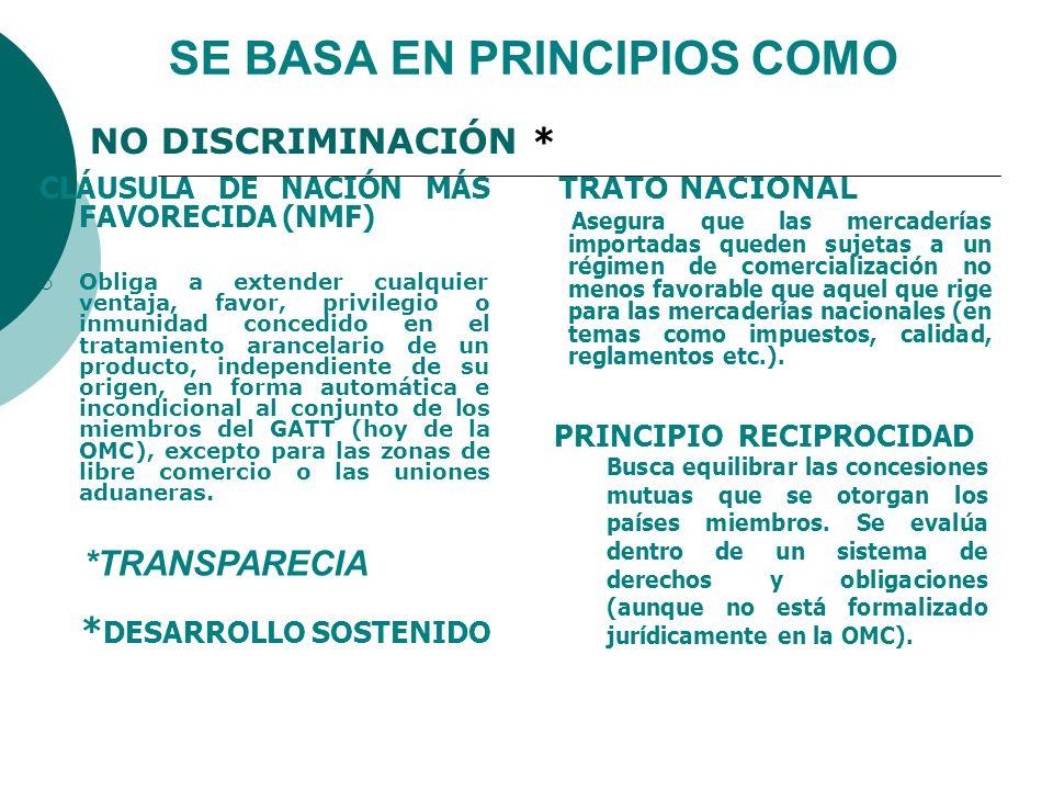 SE BASA EN PRINCIPIOS COMO CLÁUSULA DE NACIÓN MÁS FAVORECIDA (NMF) Obliga a extender cualquier ventaja, favor, privilegio o inmunidad concedido en el
