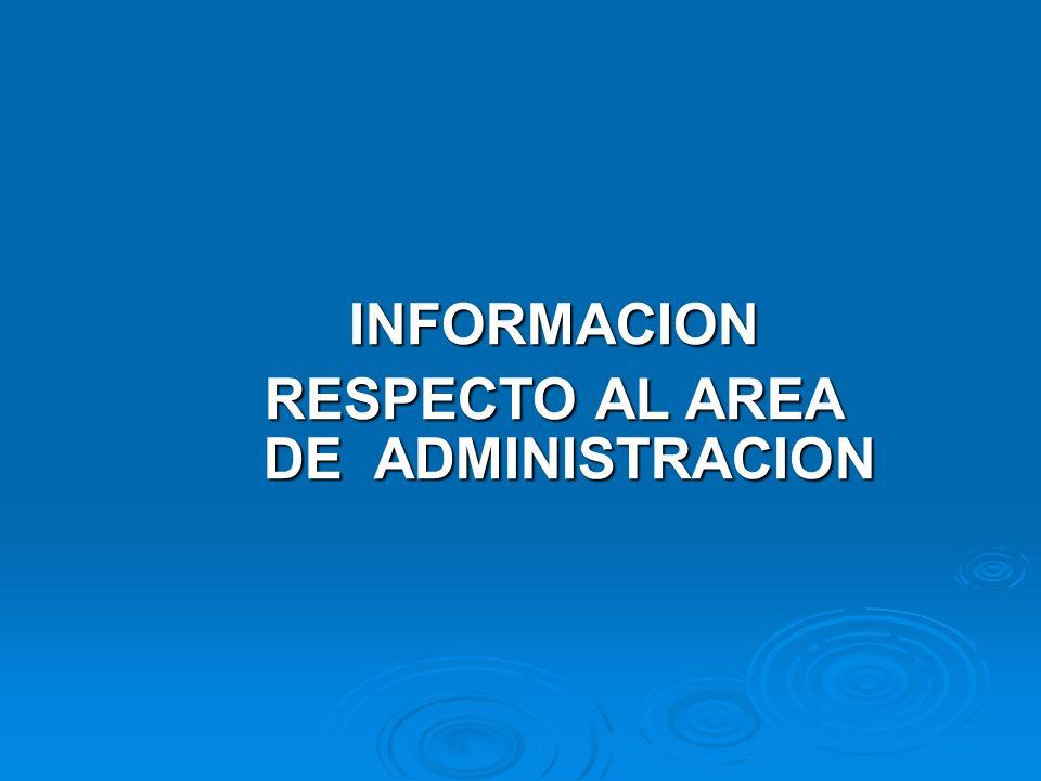 INFORMACION RESPECTO AL AREA DE ADMINISTRACION
