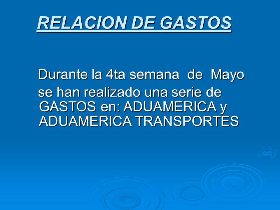 RELACION DE GASTOS Durante la 4ta semana de Mayo Durante la 4ta semana de Mayo se han realizado una serie de GASTOS en: ADUAMERICA y ADUAMERICA TRANSP