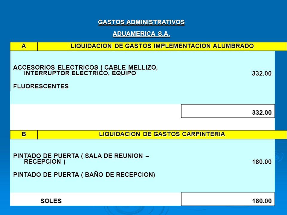 GASTOS ADMINISTRATIVOS ADUAMERICA S.A. A LIQUIDACION DE GASTOS IMPLEMENTACION ALUMBRADO ACCESORIOS ELECTRICOS ( CABLE MELLIZO, INTERRUPTOR ELECTRICO,
