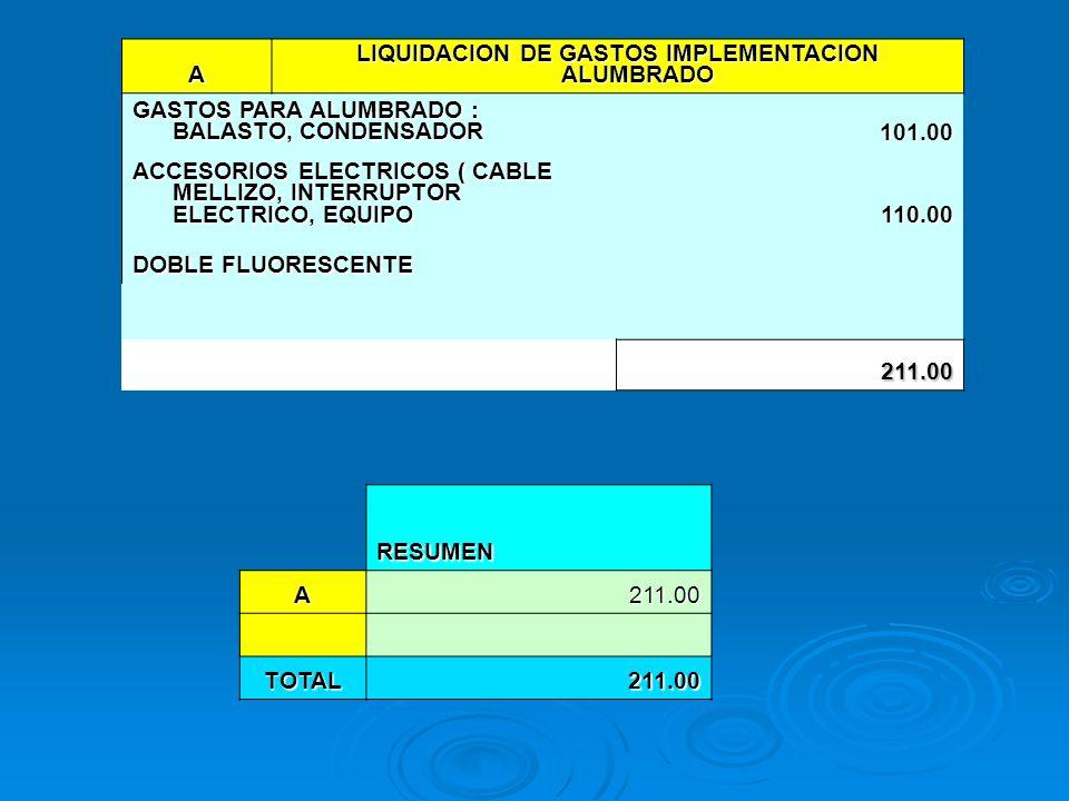 A LIQUIDACION DE GASTOS IMPLEMENTACION ALUMBRADO GASTOS PARA ALUMBRADO : BALASTO, CONDENSADOR 101.00 ACCESORIOS ELECTRICOS ( CABLE MELLIZO, INTERRUPTO