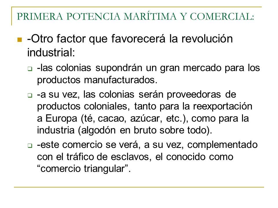 PRIMERA POTENCIA MARÍTIMA Y COMERCIAL: -Otro factor que favorecerá la revolución industrial: -las colonias supondrán un gran mercado para los productos manufacturados.