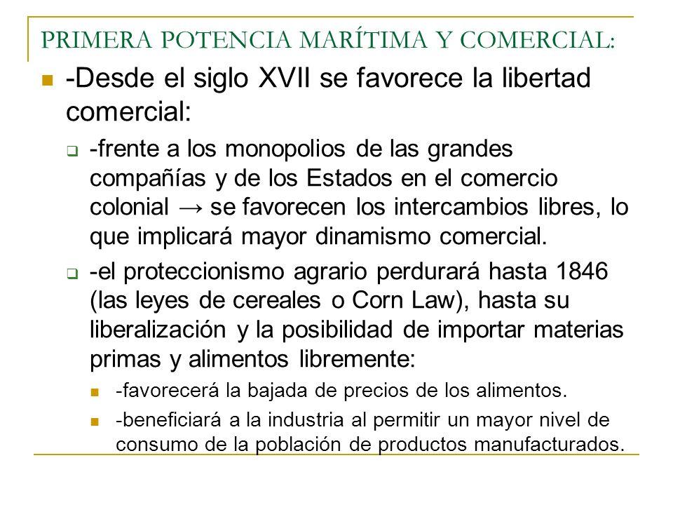 PRIMERA POTENCIA MARÍTIMA Y COMERCIAL: -Desde el siglo XVII se favorece la libertad comercial: -frente a los monopolios de las grandes compañías y de los Estados en el comercio colonial se favorecen los intercambios libres, lo que implicará mayor dinamismo comercial.
