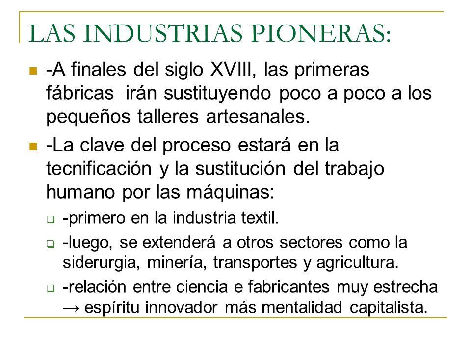 LAS INDUSTRIAS PIONERAS: -A finales del siglo XVIII, las primeras fábricas irán sustituyendo poco a poco a los pequeños talleres artesanales. -La clav