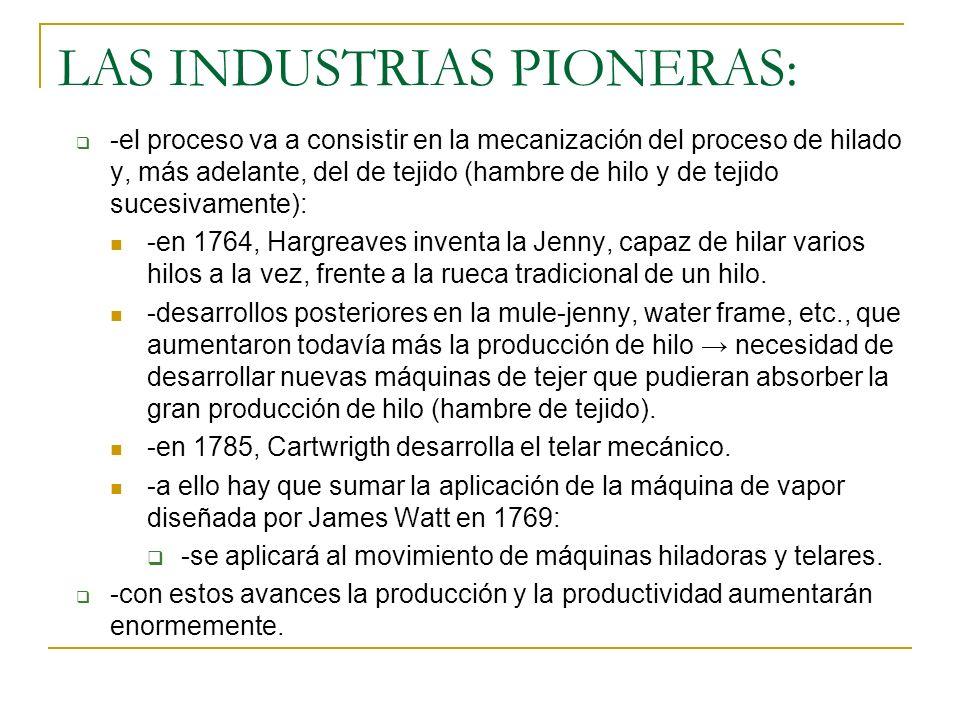 LAS INDUSTRIAS PIONERAS: -el proceso va a consistir en la mecanización del proceso de hilado y, más adelante, del de tejido (hambre de hilo y de tejid