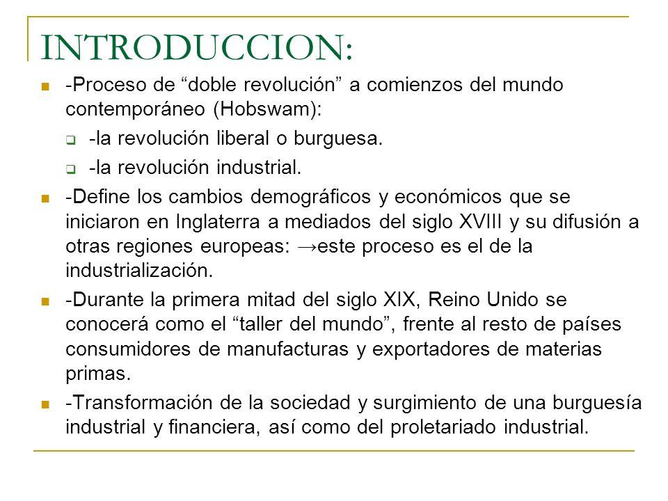 INTRODUCCION: -Proceso de doble revolución a comienzos del mundo contemporáneo (Hobswam): -la revolución liberal o burguesa. -la revolución industrial