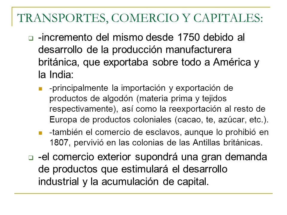 TRANSPORTES, COMERCIO Y CAPITALES: -incremento del mismo desde 1750 debido al desarrollo de la producción manufacturera británica, que exportaba sobre