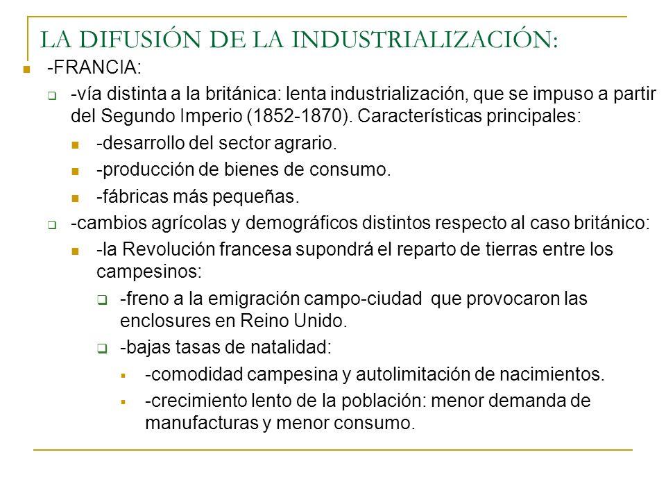 LA DIFUSIÓN DE LA INDUSTRIALIZACIÓN: -FRANCIA: -vía distinta a la británica: lenta industrialización, que se impuso a partir del Segundo Imperio (1852