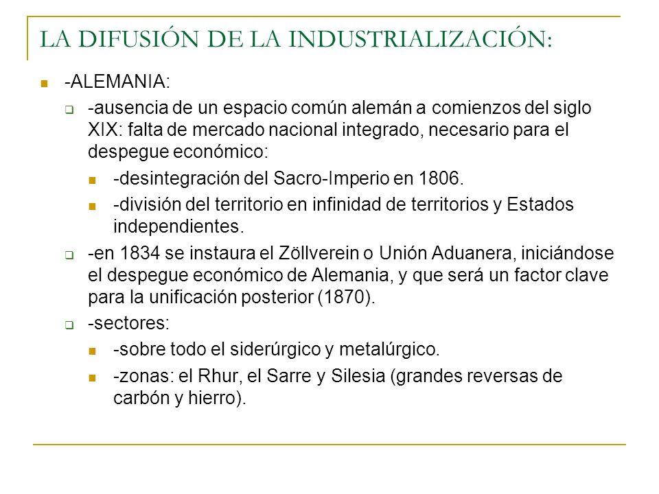 LA DIFUSIÓN DE LA INDUSTRIALIZACIÓN: -ALEMANIA: -ausencia de un espacio común alemán a comienzos del siglo XIX: falta de mercado nacional integrado, necesario para el despegue económico: -desintegración del Sacro-Imperio en 1806.