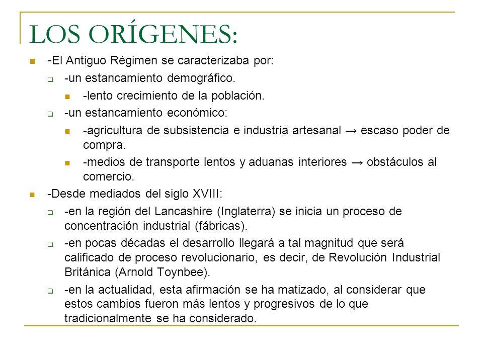 LOS ORÍGENES: - El Antiguo Régimen se caracterizaba por: -un estancamiento demográfico. -lento crecimiento de la población. -un estancamiento económic