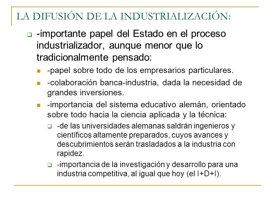 LA DIFUSIÓN DE LA INDUSTRIALIZACIÓN: -importante papel del Estado en el proceso industrializador, aunque menor que lo tradicionalmente pensado: -papel sobre todo de los empresarios particulares.