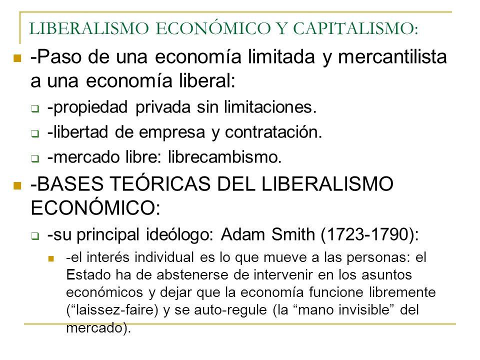 LIBERALISMO ECONÓMICO Y CAPITALISMO: -Paso de una economía limitada y mercantilista a una economía liberal: -propiedad privada sin limitaciones. -libe