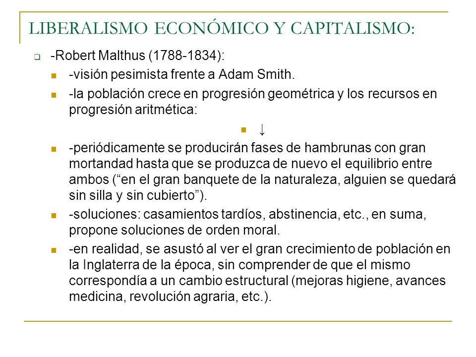 LIBERALISMO ECONÓMICO Y CAPITALISMO: -Robert Malthus (1788-1834): -visión pesimista frente a Adam Smith. -la población crece en progresión geométrica