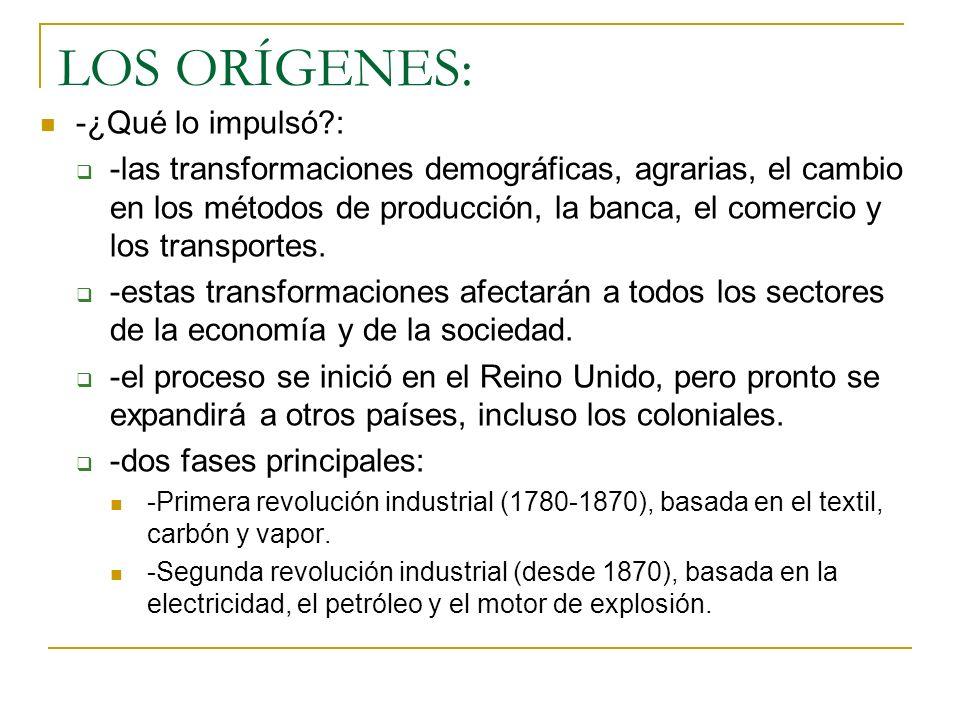 LOS ORÍGENES: -¿Qué lo impulsó?: -las transformaciones demográficas, agrarias, el cambio en los métodos de producción, la banca, el comercio y los transportes.