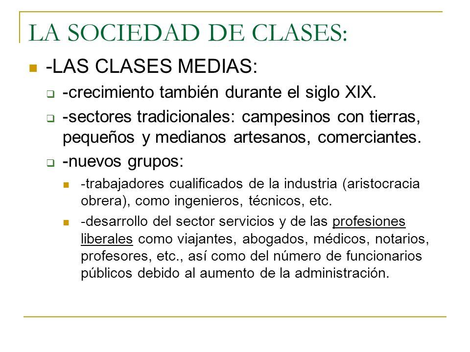 LA SOCIEDAD DE CLASES: -LAS CLASES MEDIAS: -crecimiento también durante el siglo XIX. -sectores tradicionales: campesinos con tierras, pequeños y medi
