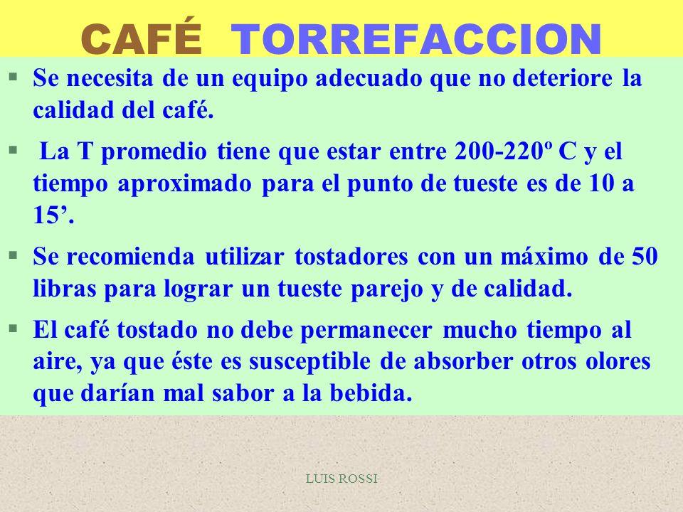 LUIS ROSSI CAFÉ TORREFACCION §Se necesita de un equipo adecuado que no deteriore la calidad del café. § La T promedio tiene que estar entre 200-220º C