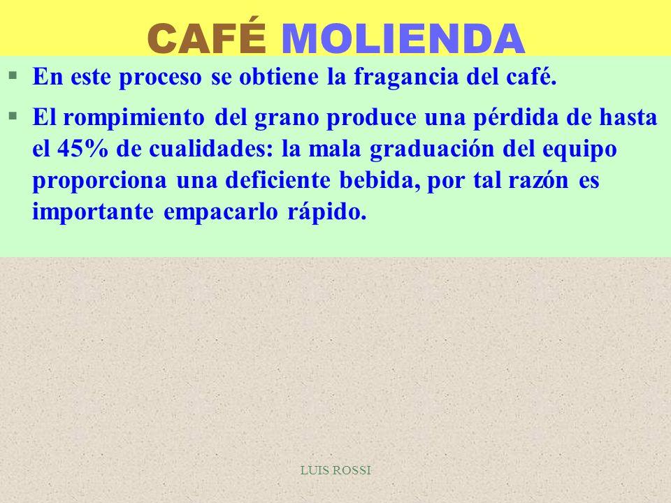 LUIS ROSSI CAFÉ MOLIENDA §En este proceso se obtiene la fragancia del café. §El rompimiento del grano produce una pérdida de hasta el 45% de cualidade