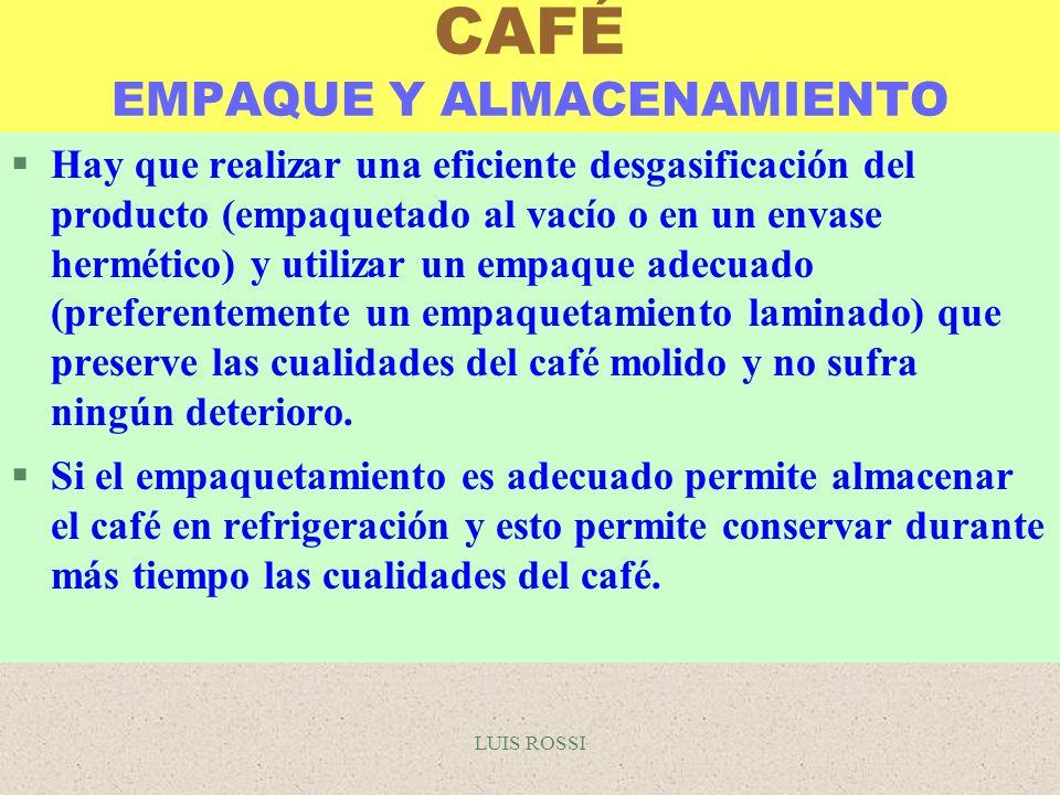 LUIS ROSSI CAFÉ EMPAQUE Y ALMACENAMIENTO §Hay que realizar una eficiente desgasificación del producto (empaquetado al vacío o en un envase hermético)