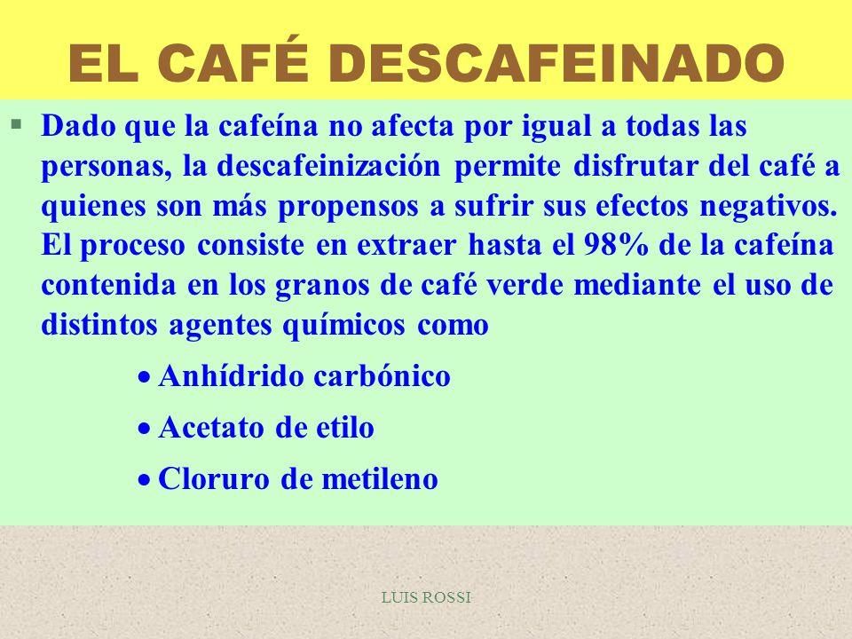 LUIS ROSSI EL CAFÉ DESCAFEINADO §Dado que la cafeína no afecta por igual a todas las personas, la descafeinización permite disfrutar del café a quiene