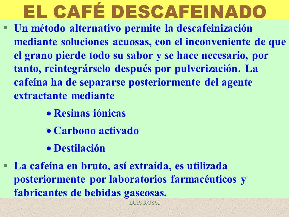 LUIS ROSSI EL CAFÉ DESCAFEINADO §Un método alternativo permite la descafeinización mediante soluciones acuosas, con el inconveniente de que el grano p