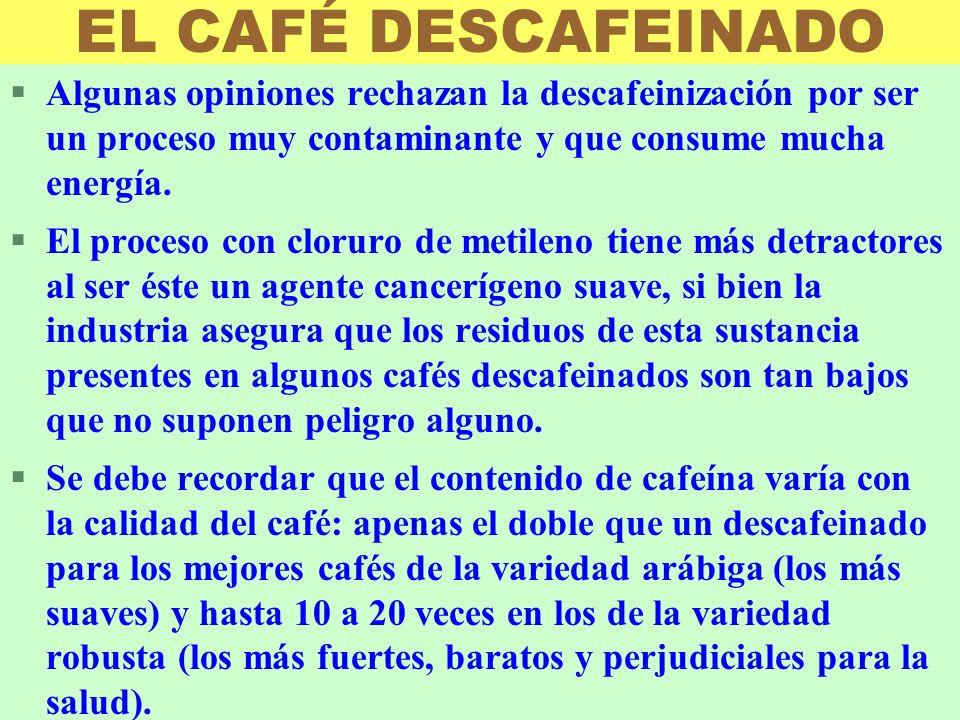 LUIS ROSSI EL CAFÉ DESCAFEINADO §Algunas opiniones rechazan la descafeinización por ser un proceso muy contaminante y que consume mucha energía. §El p