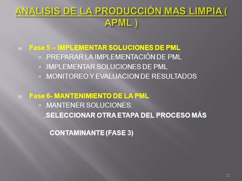 Fase 5 – IMPLEMENTAR SOLUCIONES DE PML. PREPARAR LA IMPLEMENTACIÓN DE PML. IMPLEMENTAR SOLUCIONES DE PML. MONITOREO Y EVALUACION DE RESULTADOS Fase 6-
