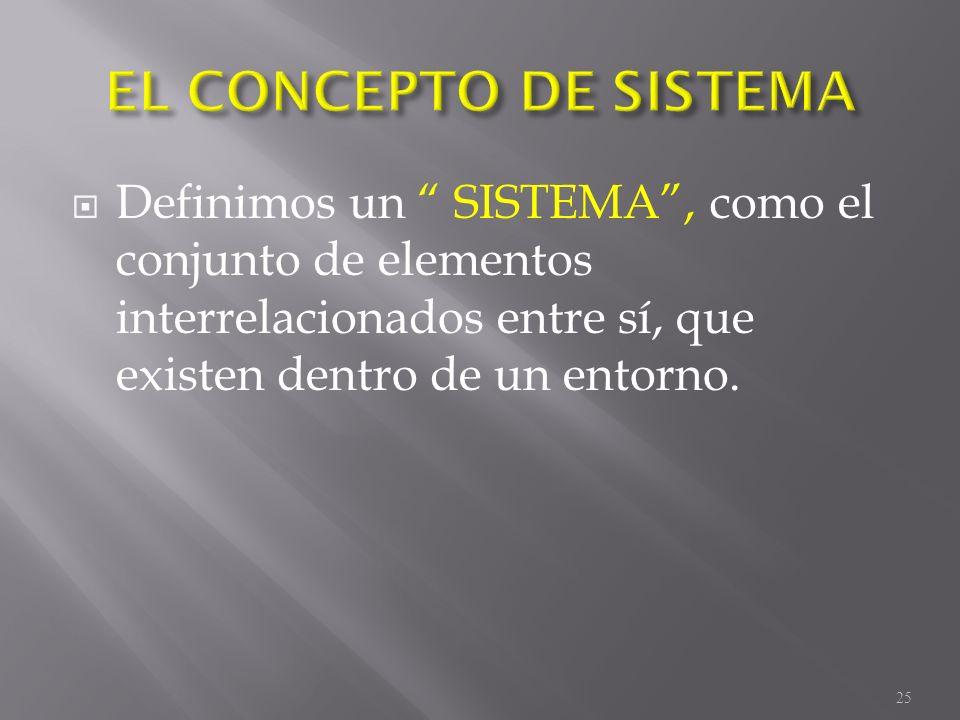 Definimos un SISTEMA, como el conjunto de elementos interrelacionados entre sí, que existen dentro de un entorno. 25