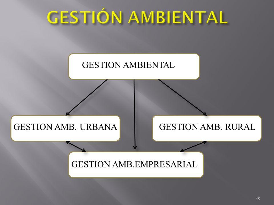 GESTION AMBIENTAL GESTION AMB. RURALGESTION AMB. URBANA GESTION AMB.EMPRESARIAL 39