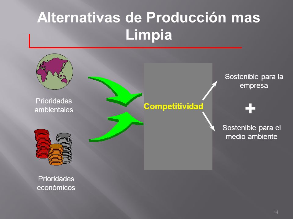 Alternativas de Producción mas Limpia Prioridades ambientales Prioridades económicos Competitividad Sostenible para el medio ambiente + Sostenible par