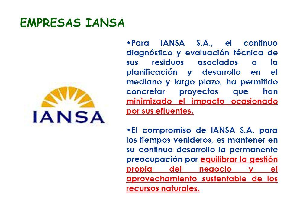 EMPRESAS IANSA Para IANSA S.A., el continuo diagnóstico y evaluación técnica de sus residuos asociados a la planificación y desarrollo en el mediano y largo plazo, ha permitido concretar proyectos que han minimizado el impacto ocasionado por sus efluentes.
