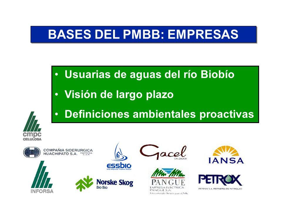 BASES DEL PMBB: EMPRESAS Usuarias de aguas del río Biobío Visión de largo plazo Definiciones ambientales proactivas