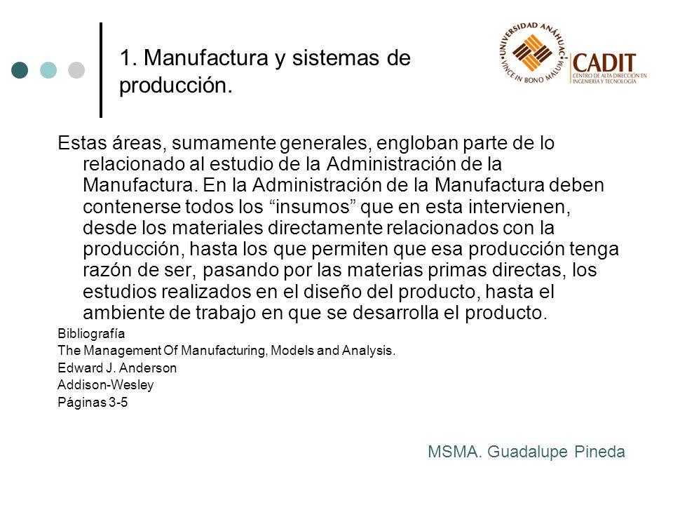 Estas áreas, sumamente generales, engloban parte de lo relacionado al estudio de la Administración de la Manufactura. En la Administración de la Manuf