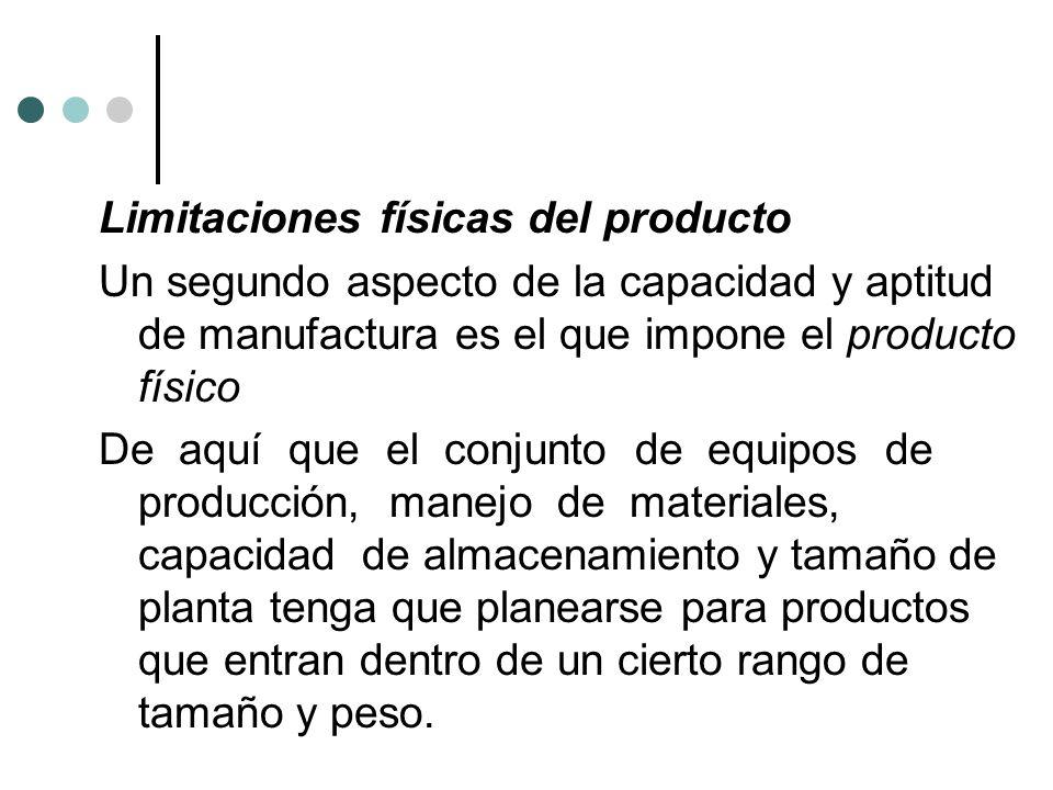 Limitaciones físicas del producto Un segundo aspecto de la capacidad y aptitud de manufactura es el que impone el producto físico De aquí que el conju