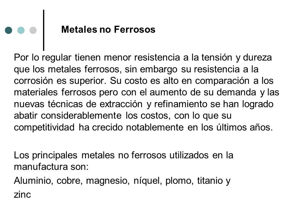 Metales no Ferrosos Por lo regular tienen menor resistencia a la tensión y dureza que los metales ferrosos, sin embargo su resistencia a la corrosión