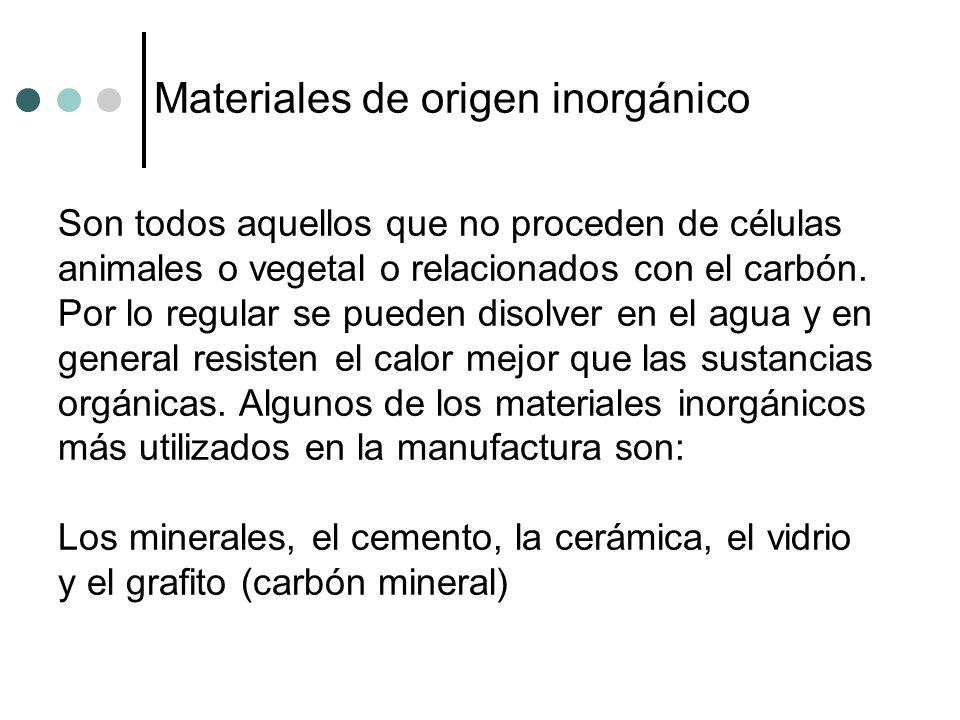 Materiales de origen inorgánico Son todos aquellos que no proceden de células animales o vegetal o relacionados con el carbón. Por lo regular se puede