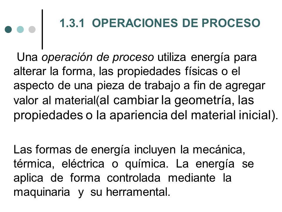 1.3.1 OPERACIONES DE PROCESO Una operación de proceso utiliza energía para alterar la forma, las propiedades físicas o el aspecto de una pieza de trab