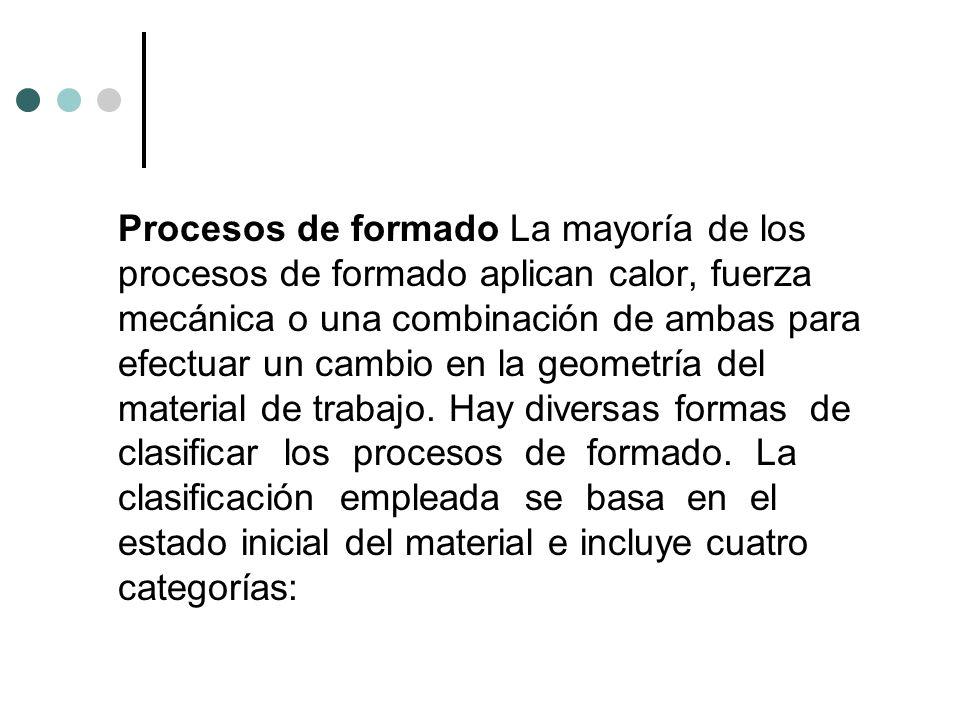 Procesos de formado La mayoría de los procesos de formado aplican calor, fuerza mecánica o una combinación de ambas para efectuar un cambio en la geom