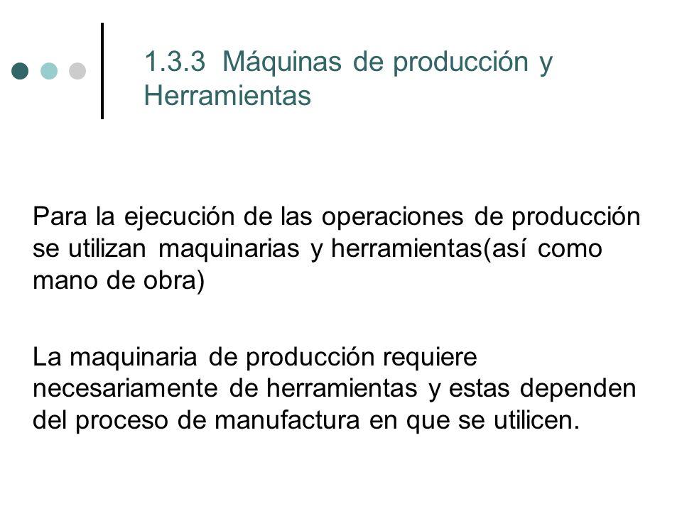 1.3.3 Máquinas de producción y Herramientas Para la ejecución de las operaciones de producción se utilizan maquinarias y herramientas(así como mano de