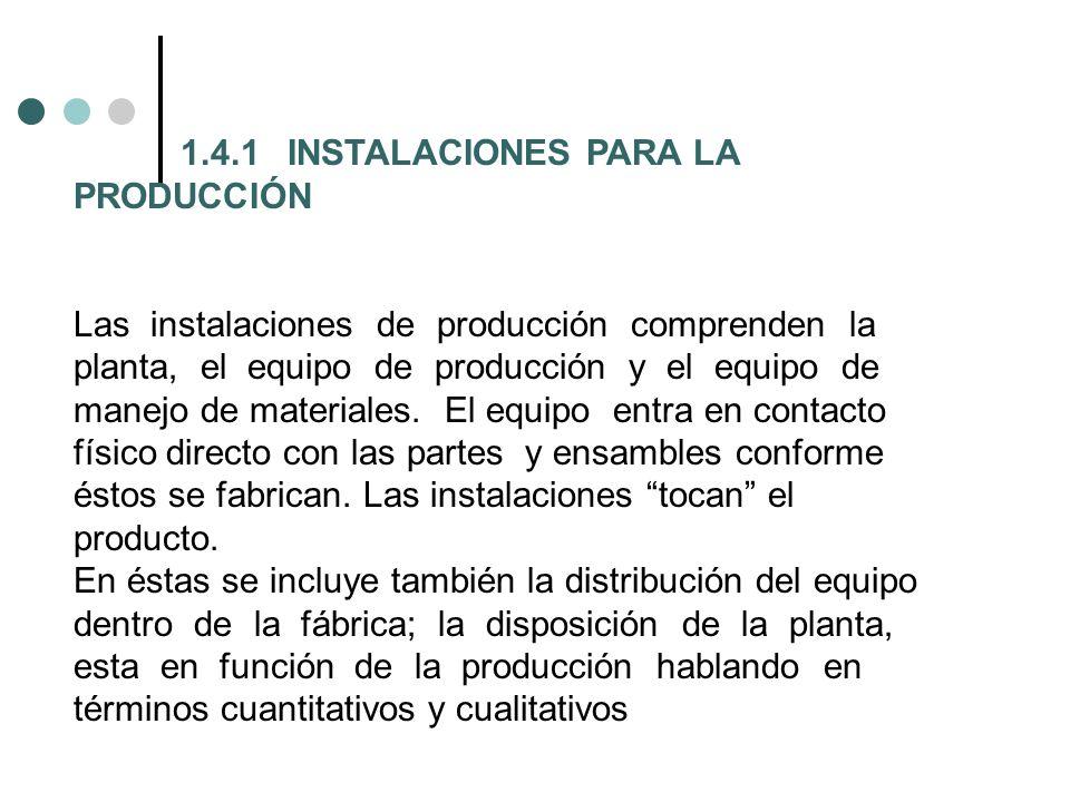 1.4.1INSTALACIONES PARA LA PRODUCCIÓN Las instalaciones de producción comprenden la planta, el equipo de producción y el equipo de manejo de materiale